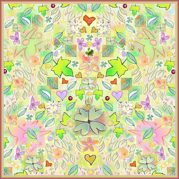 Leaf And Flower And Heart Pattern  Art Print