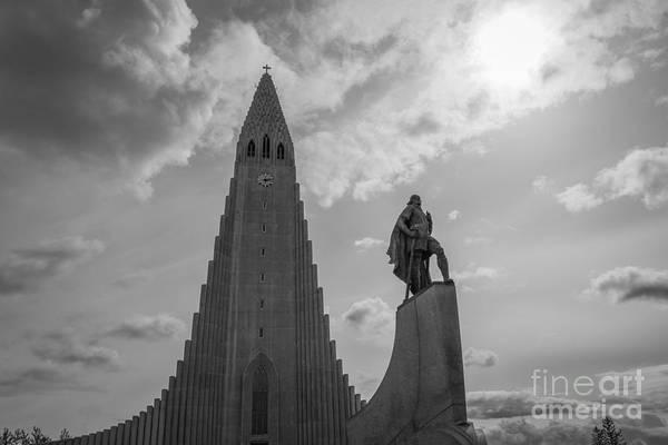 Reykjavik Photograph - Leif Ericson And Hallgrimskirkja Bw by Michael Ver Sprill