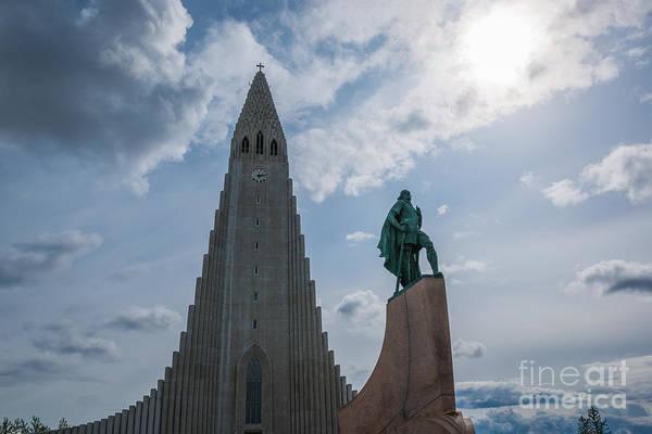 Reykjavik Photograph - Leif Erikson And Hallgrimskirkja by Michael Ver Sprill