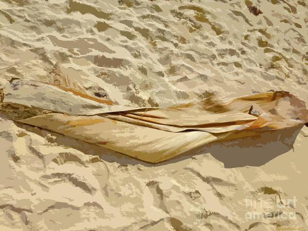 Digital Art - Leaf In The Sand by Francesca Mackenney
