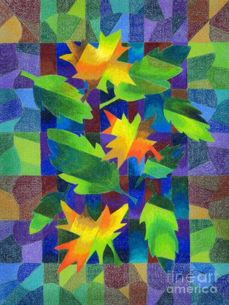 Drawing - Leaf Mosaic Drawing by Kristen Fox