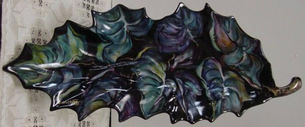 Ceramic Art - Leaf Plate by Shirley Heyn