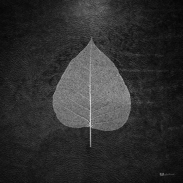 Digital Art - Leaf Veins Skeleton - Leaf Structure In Silver On Black by Serge Averbukh
