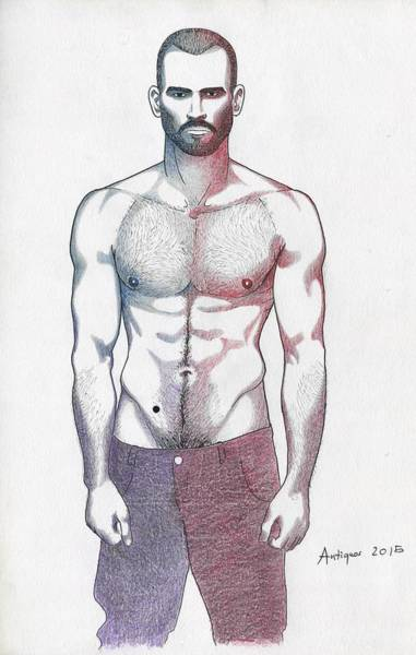 Moustache Mixed Media - Lean Muscle Man by Anti Quos