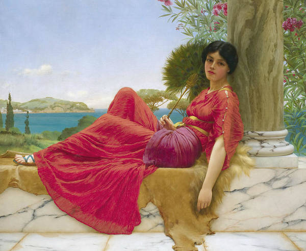 Wall Art - Painting - Leaning Against A Column by John William Godward