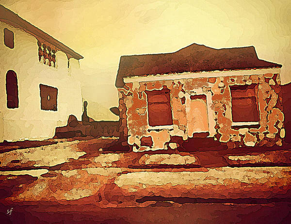 Digital Art - Leaning Red Rock House  by Shelli Fitzpatrick