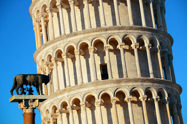 Photograph - Leaning Tower Capitoline Wolf In Pisa by Songquan Deng