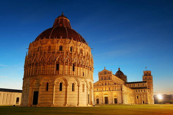 Photograph - Leaning Tower Cathedral In Pisa Night by Songquan Deng