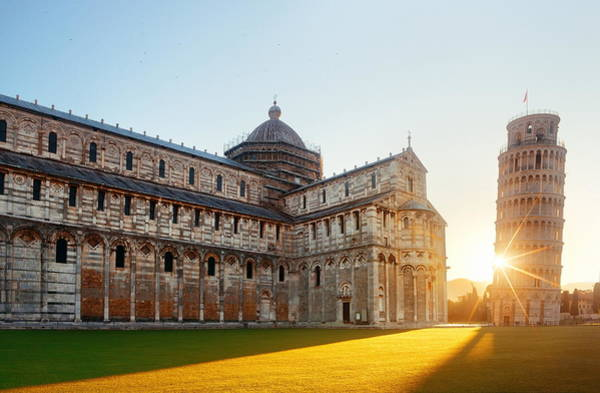 Photograph - Leaning Tower Cathedral Sunrise In Pisa by Songquan Deng