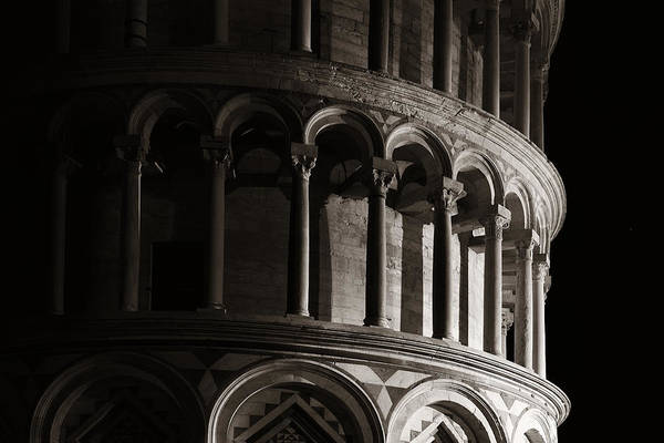 Photograph - Leaning Tower Pisa Closeup At Night by Songquan Deng