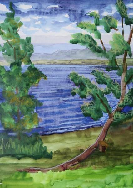 Adirondack Mountains Painting - Leaning Tree By Lake Sacandaga by Bethany Lee