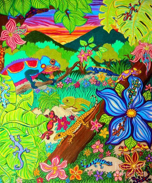 Wall Art - Drawing - Leapin Lizards by Nick Gustafson