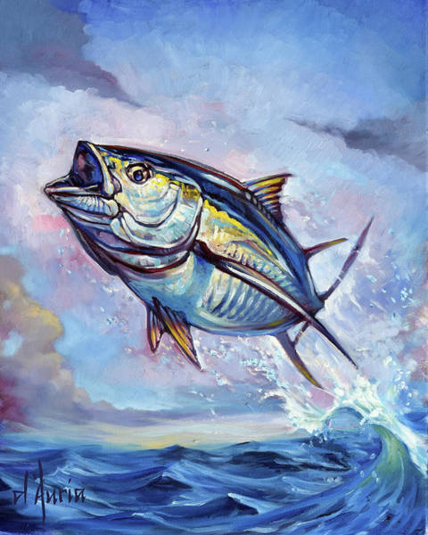 Wall Art - Painting - Leaping Bluefin by Tom Dauria