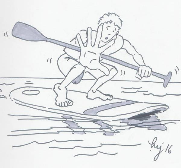 Drawing - Learning To Paddle Board Cartoon by Mike Jory
