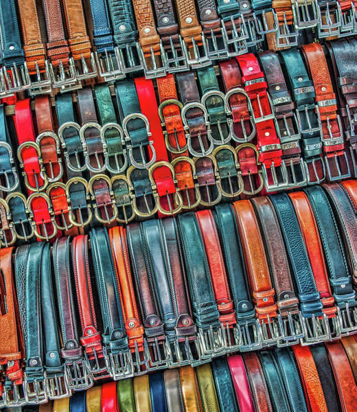 Photograph - Leather Belts At Florence Market by Gary Slawsky