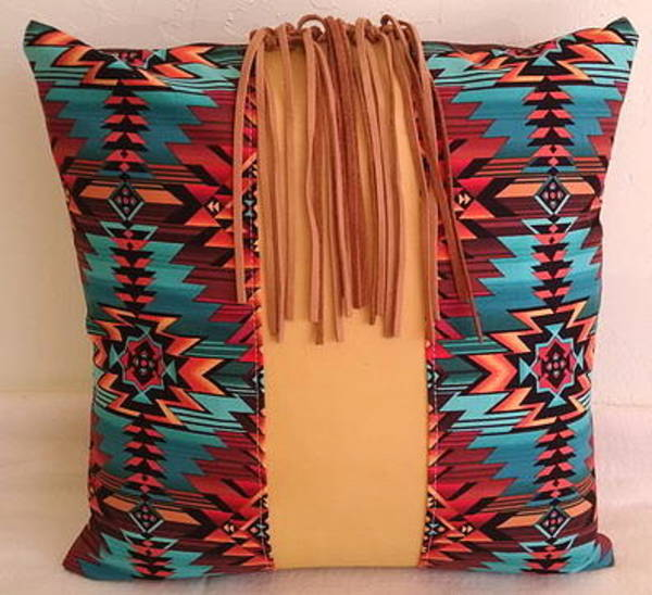 Wall Art - Tapestry - Textile - Leather  Cloth Pillow With Fringe by Susan Shatreau-Janisky