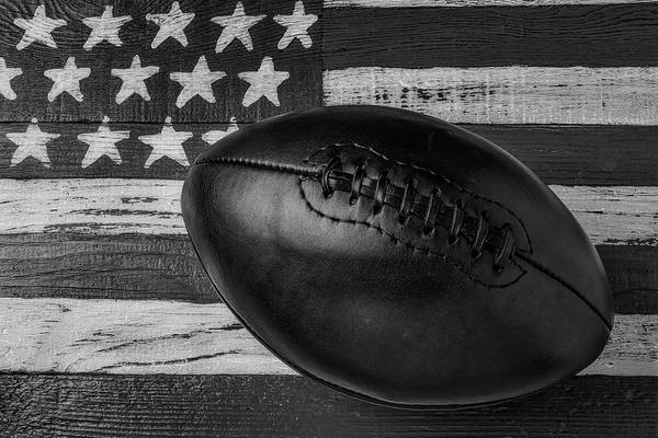 Wall Art - Photograph - Leather Football On Flag Black And White by Garry Gay