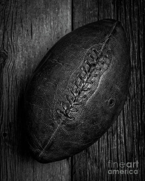 High School Photograph - Leather Pigskin Football by Edward Fielding