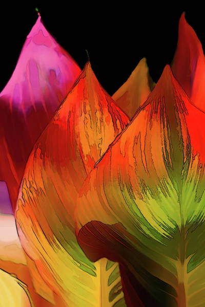 Wall Art - Digital Art - Leaves Aflame by Terry Davis