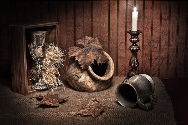 Leaves And Vessels By Candlelight Art Print