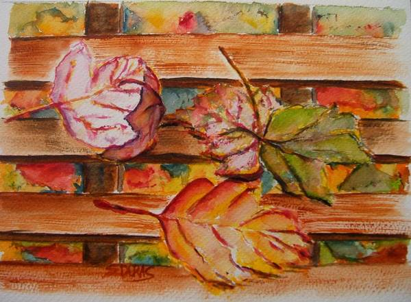 Wall Art - Painting - Leaves On The Bench by Elaine Duras
