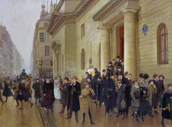 Traffic Painting - Leaving The Lycee Condorcet by Jean Beraud