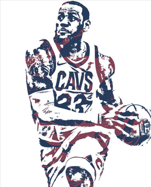 Wall Art - Mixed Media - Lebron James Cleveland Cavaliers Pixel Art 50 by Joe Hamilton