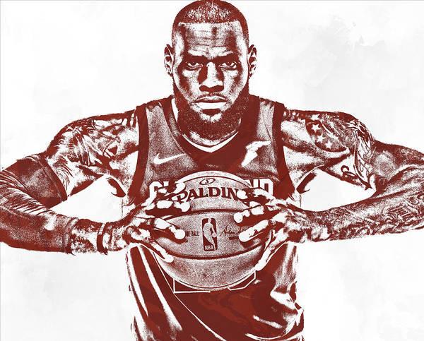 Wall Art - Mixed Media - Lebron James Cleveland Cavaliers Pixel Art 63 by Joe Hamilton