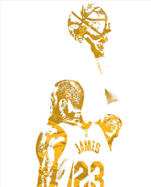 Wall Art - Mixed Media - Lebron James Cleveland Cavaliers Pixel Art 71 by Joe Hamilton