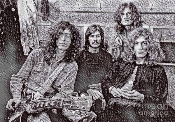 Wall Art - Drawing - Led Zeppelin Drawing by Pd