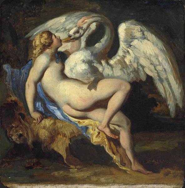Wall Art - Painting - Leda And The Swan by Theodore Gericault