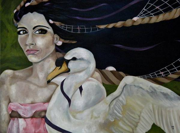 Wall Art - Painting - Leda And The Swan by Victoria Dietz
