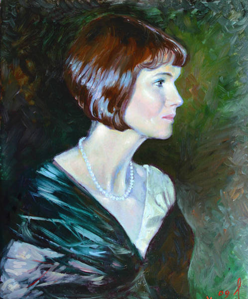 Fine Painting - Ledy In Green by Ylli Haruni