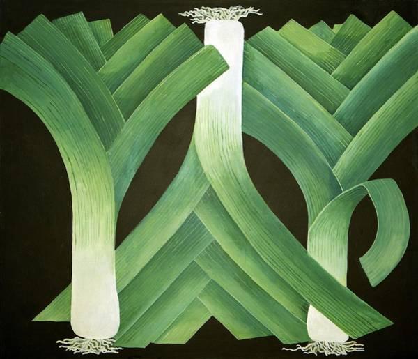 Veg Painting - Leeks by Jennifer Abbot
