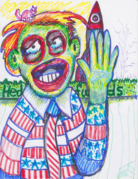 Sock Monkey Drawing - Left Handed Promise by Susan Brown    Slizys art signature name