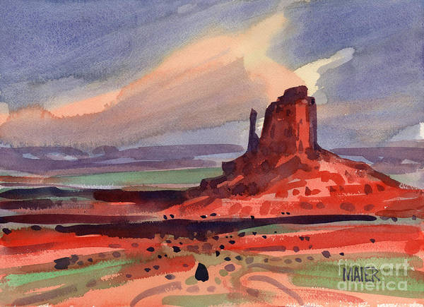 Butte Painting - Left Mitten At Sunset by Donald Maier