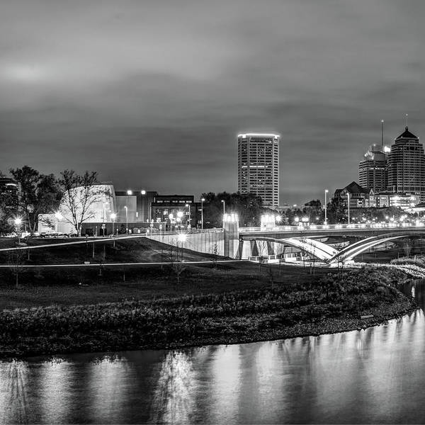 Photograph - Left Panel 1 Of 3 - Columbus Ohio Skyline At Night In Black And White by Gregory Ballos