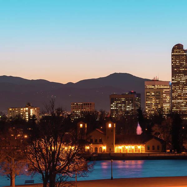 Photograph - Left Panel 1 Of 3 - Denver Colorado Skyline Panoramic by Gregory Ballos