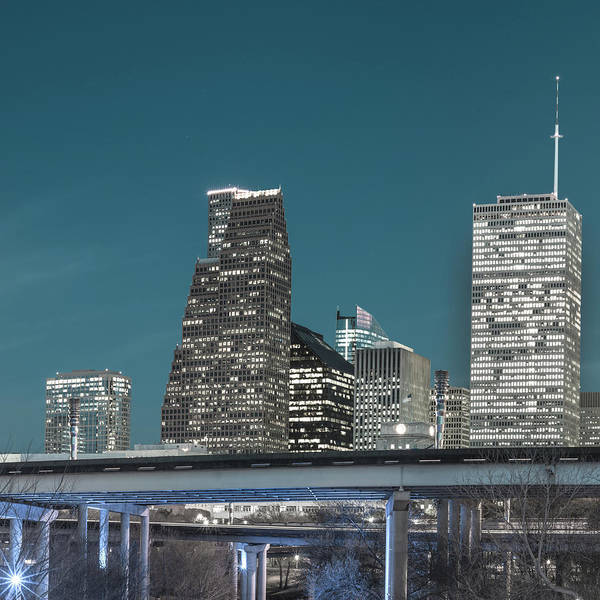 Photograph - Left Panel 1 Of 3 - Houston Texas Skyline Panorama At Night by Gregory Ballos