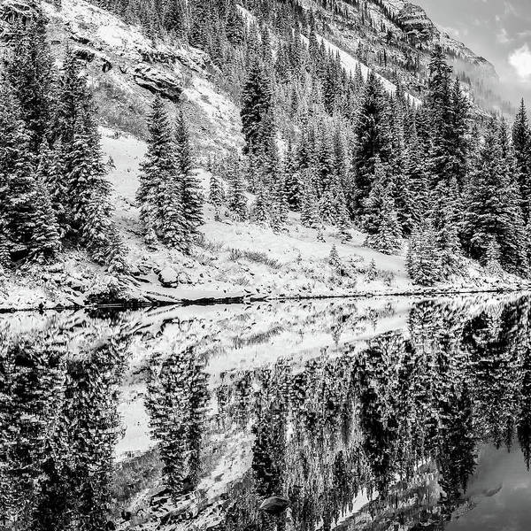 Photograph - Left Panel 1 Of 3 - Maroon Bells Mountain Landscape Panoramic Bw - Aspen Colorado by Gregory Ballos