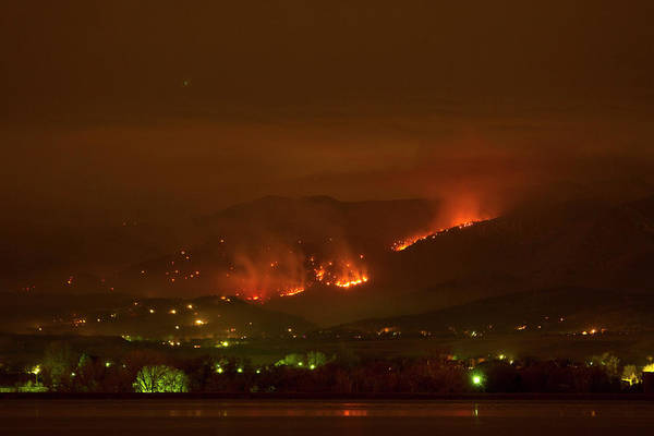 Photograph - Lefthand Canyon Wildfire Night Time View by James BO Insogna