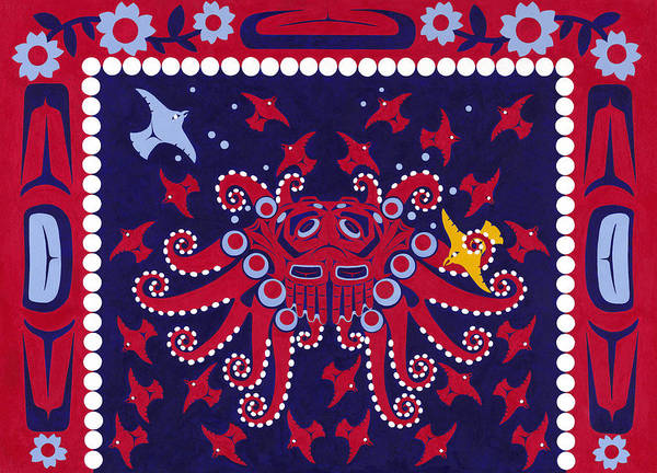 Native American Blanket Painting - Legend Of Octopus Woman by Chholing Taha