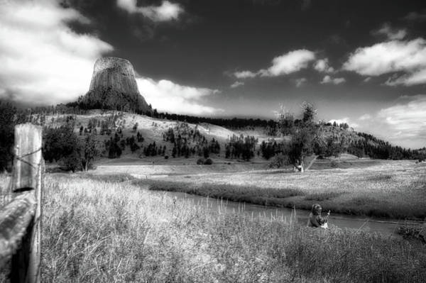 Grizzlies Mixed Media - Legend Of The Bear Wyoming Devils Tower Bw by Thomas Woolworth