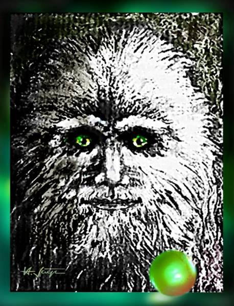 Drawing - Legendary  Bigfoot by Hartmut Jager