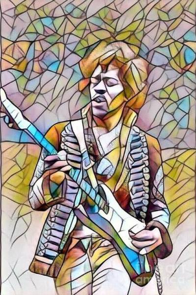 Best New Artist Digital Art - Legends Of Rock - Jimi Hendrix - Stained Glass by Scott D Van Osdol