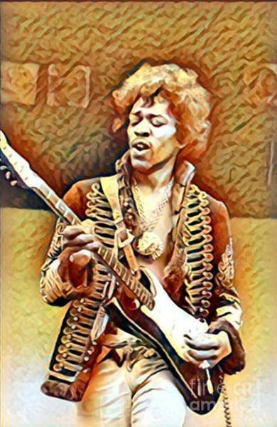 Best New Artist Digital Art - Legends Of Rock - Jimi Hendrix - Vintage Shredding by Scott D Van Osdol