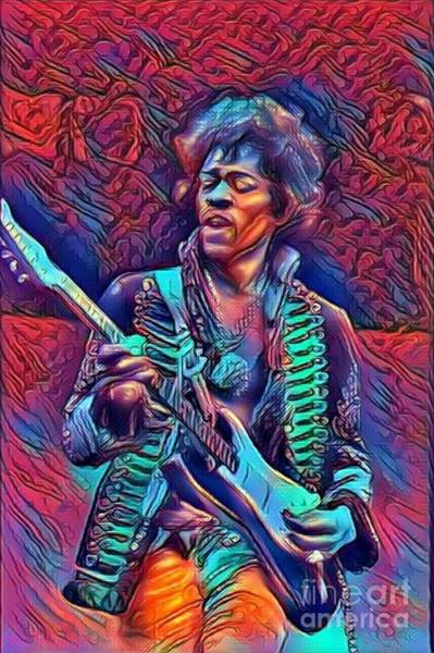 Best New Artist Digital Art - Legends Of Rock - Jimi Hendrix -  Watch Tower by Scott D Van Osdol