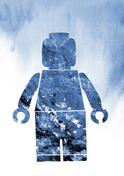 Wall Art - Digital Art -  Lego Man-blue by Erzebet S