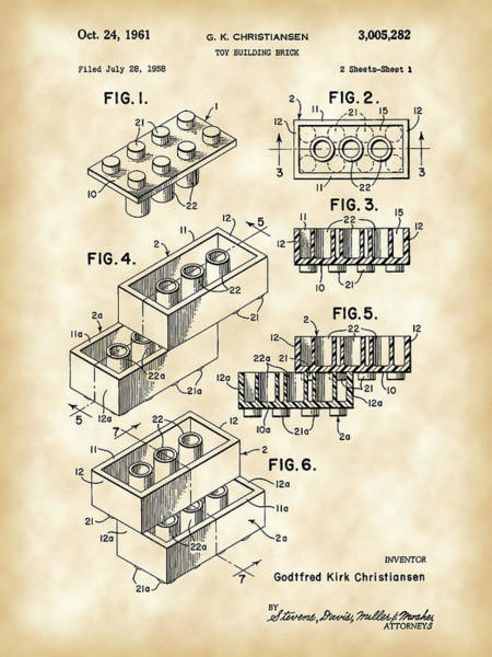 Patent Drawing Wall Art - Digital Art - Lego Patent 1958 - Vintage by Stephen Younts
