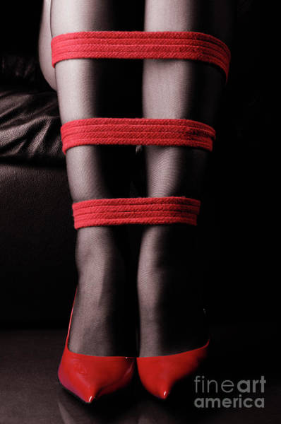 Wall Art - Photograph - Legs Tied With Red Bondage Ropes Art Print by Oleksiy Maksymenko